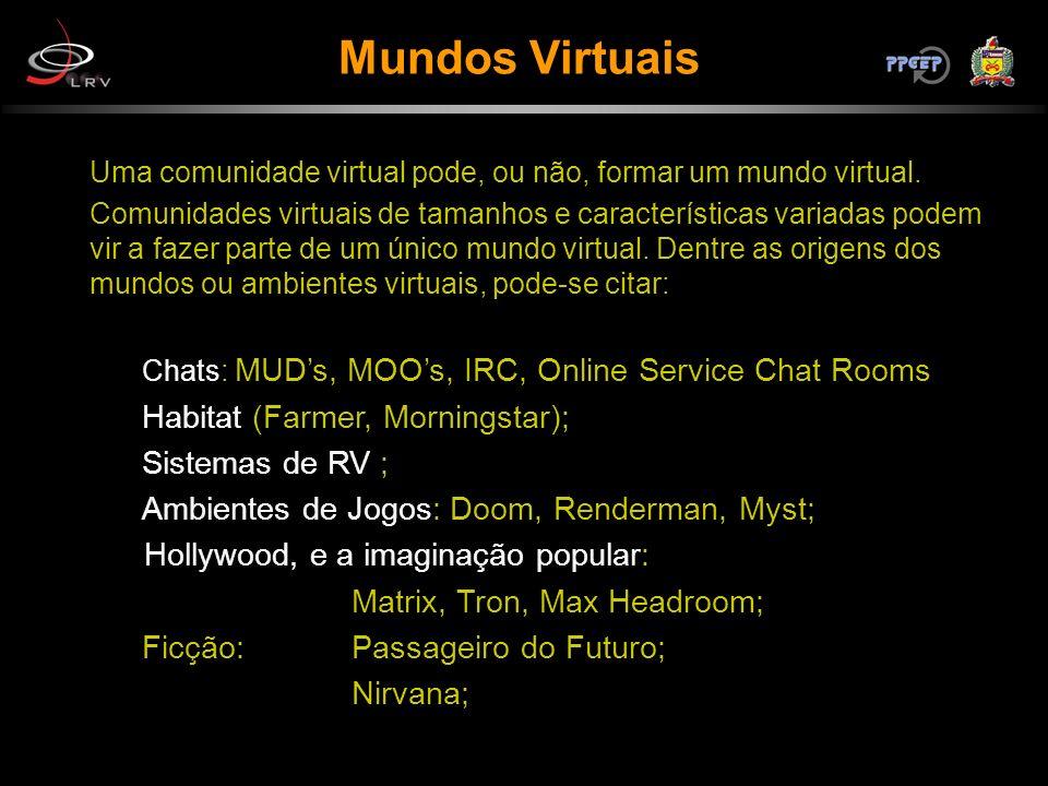 Mundos Virtuais Uma comunidade virtual pode, ou não, formar um mundo virtual. Comunidades virtuais de tamanhos e características variadas podem vir a