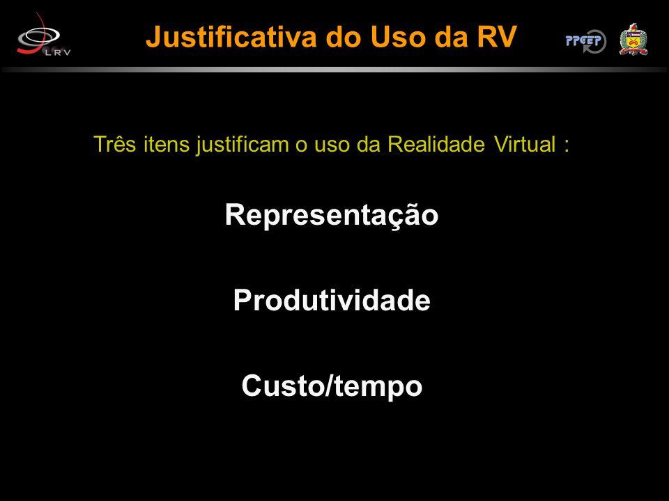 Justificativa do Uso da RV Três itens justificam o uso da Realidade Virtual : Representação Produtividade Custo/tempo