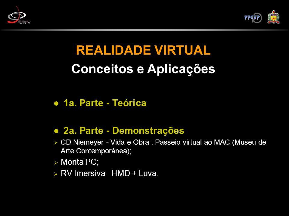 REALIDADE VIRTUAL Conceitos e Aplicações 1a. Parte - Teórica 2a. Parte - Demonstrações CD Niemeyer - Vida e Obra : Passeio virtual ao MAC (Museu de Ar