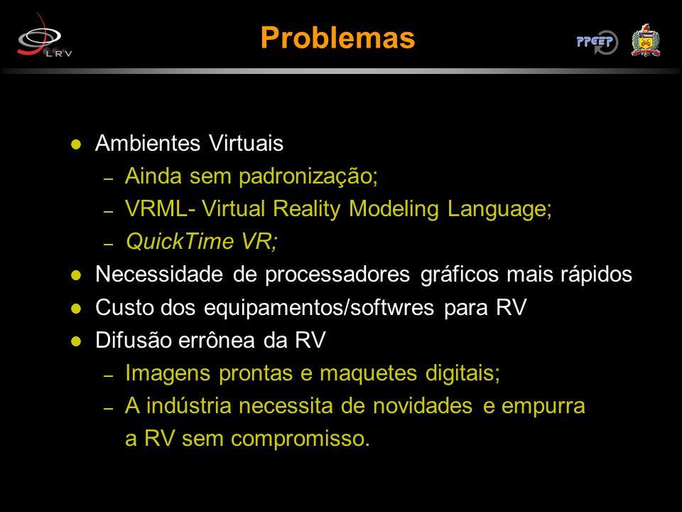 Ambientes Virtuais – Ainda sem padronização; – VRML- Virtual Reality Modeling Language; – QuickTime VR; Necessidade de processadores gráficos mais ráp