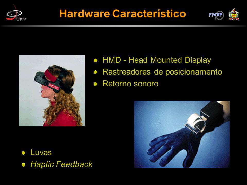 HMD - Head Mounted Display Rastreadores de posicionamento Retorno sonoro Luvas Haptic Feedback Hardware Característico