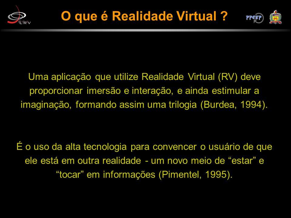 O que é Realidade Virtual ? Uma aplicação que utilize Realidade Virtual (RV) deve proporcionar imersão e interação, e ainda estimular a imaginação, fo