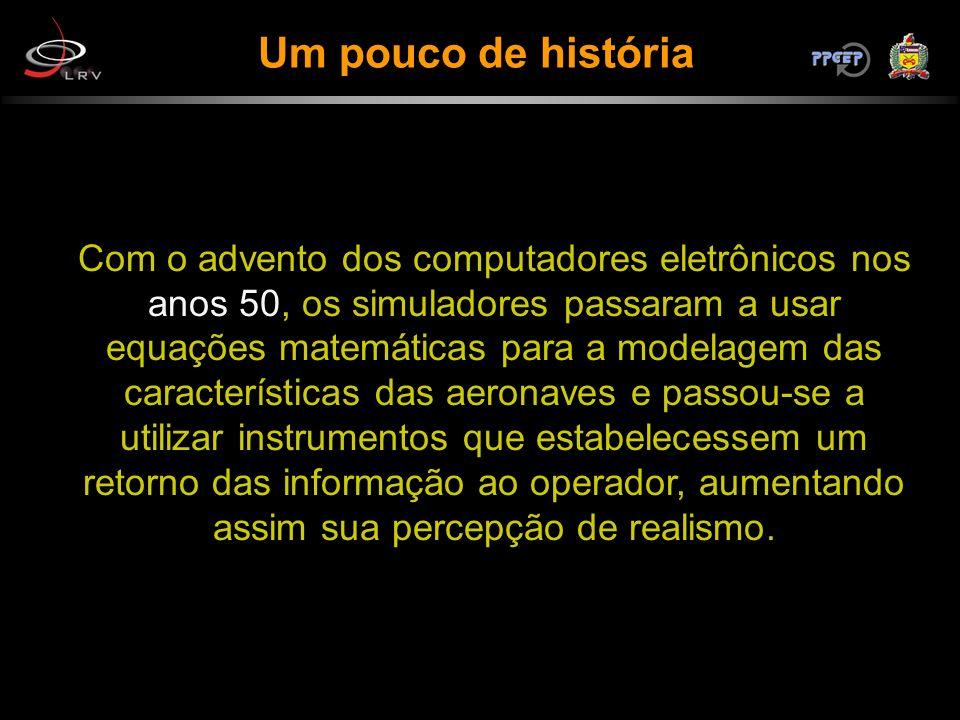 Um pouco de história Com o advento dos computadores eletrônicos nos anos 50, os simuladores passaram a usar equações matemáticas para a modelagem das