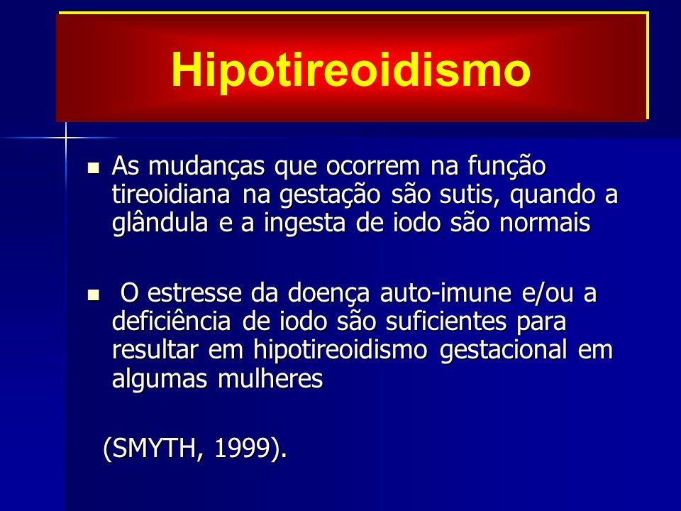 As mudanças que ocorrem na função tireoidiana na gestação são sutis, quando a glândula e a ingesta de iodo são normais As mudanças que ocorrem na função tireoidiana na gestação são sutis, quando a glândula e a ingesta de iodo são normais O estresse da doença auto-imune e/ou a deficiência de iodo são suficientes para resultar em hipotireoidismo gestacional em algumas mulheres O estresse da doença auto-imune e/ou a deficiência de iodo são suficientes para resultar em hipotireoidismo gestacional em algumas mulheres (SMYTH, 1999).
