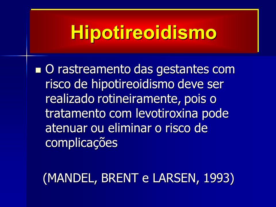 O rastreamento das gestantes com risco de hipotireoidismo deve ser realizado rotineiramente, pois o tratamento com levotiroxina pode atenuar ou eliminar o risco de complicações O rastreamento das gestantes com risco de hipotireoidismo deve ser realizado rotineiramente, pois o tratamento com levotiroxina pode atenuar ou eliminar o risco de complicações (MANDEL, BRENT e LARSEN, 1993) (MANDEL, BRENT e LARSEN, 1993) HipotireoidismoHipotireoidismo