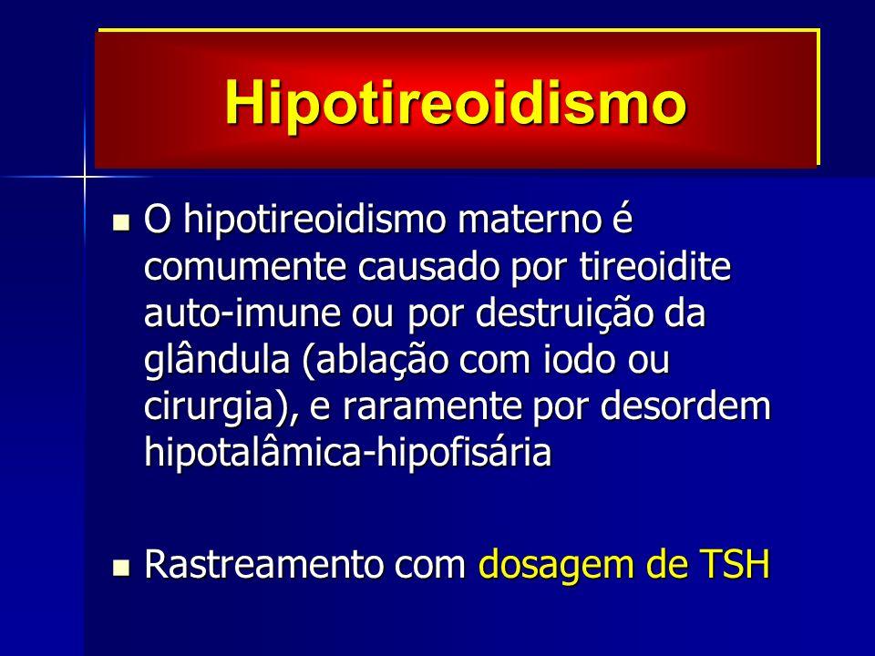 O hipotireoidismo materno é comumente causado por tireoidite auto-imune ou por destruição da glândula (ablação com iodo ou cirurgia), e raramente por desordem hipotalâmica-hipofisária O hipotireoidismo materno é comumente causado por tireoidite auto-imune ou por destruição da glândula (ablação com iodo ou cirurgia), e raramente por desordem hipotalâmica-hipofisária Rastreamento com dosagem de TSH Rastreamento com dosagem de TSH HipotireoidismoHipotireoidismo