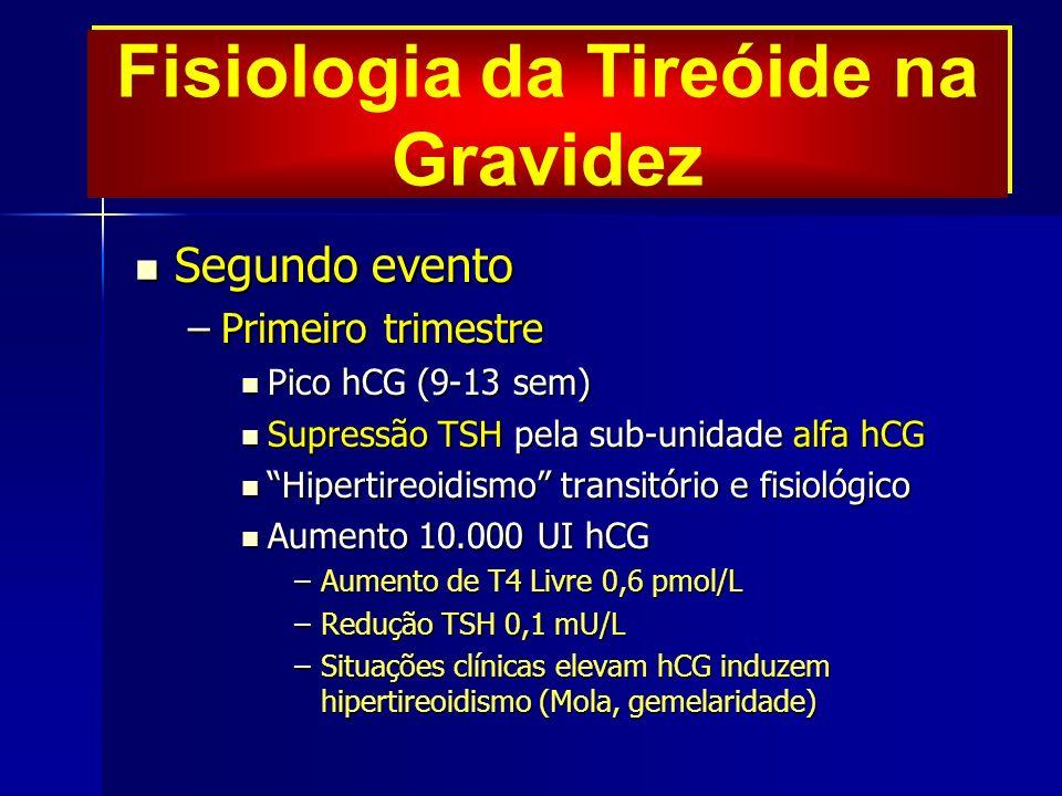 Fisiologia da Tireóide na Gravidez Segundo evento Segundo evento –Primeiro trimestre Pico hCG (9-13 sem) Pico hCG (9-13 sem) Supressão TSH pela sub-unidade alfa hCG Supressão TSH pela sub-unidade alfa hCG Hipertireoidismo transitório e fisiológicoHipertireoidismo transitório e fisiológico Aumento 10.000 UI hCG Aumento 10.000 UI hCG –Aumento de T4 Livre 0,6 pmol/L –Redução TSH 0,1 mU/L –Situações clínicas elevam hCG induzem hipertireoidismo (Mola, gemelaridade)