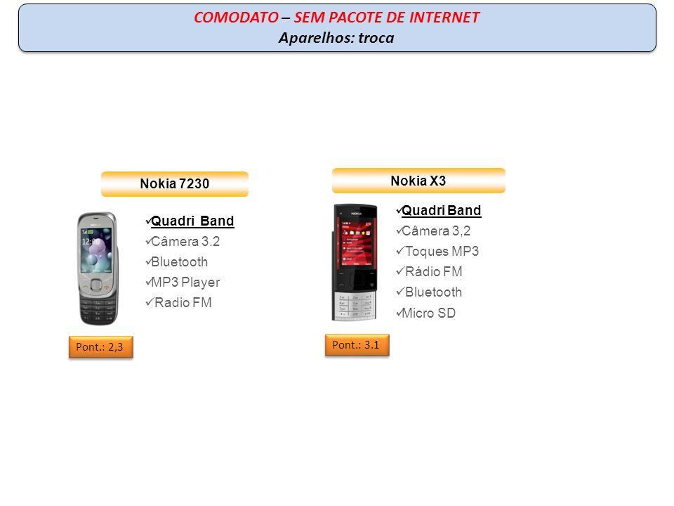 Nokia X3 Quadri Band Câmera 3,2 Toques MP3 Rádio FM Bluetooth Micro SD Pont.: 3.1 COMODATO – SEM PACOTE DE INTERNET Aparelhos: troca COMODATO – SEM PA