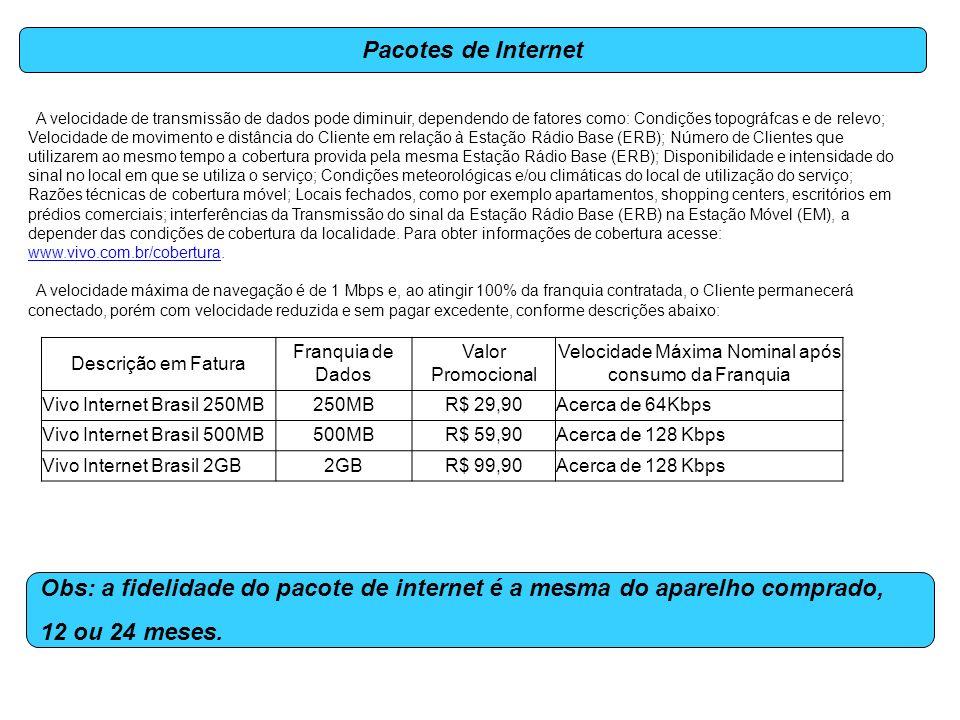 Pacotes de Internet Obs: a fidelidade do pacote de internet é a mesma do aparelho comprado, 12 ou 24 meses. A velocidade de transmissão de dados pode