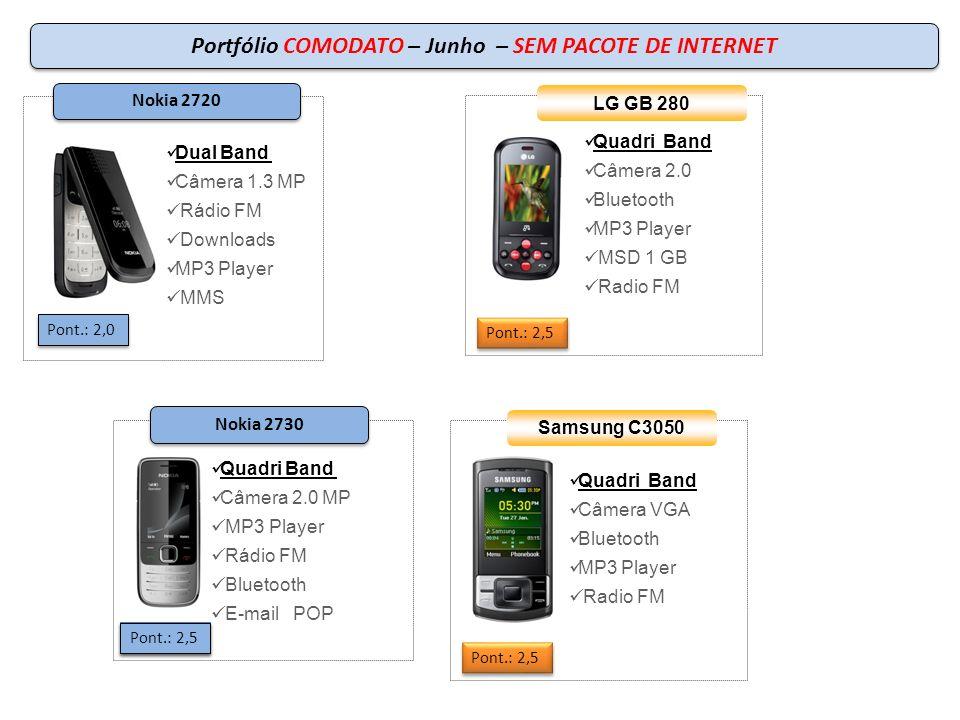 Portfólio COMODATO – Junho – SEM PACOTE DE INTERNET Pont.: 2,0 Dual Band Câmera 1.3 MP Rádio FM Downloads MP3 Player MMS Nokia 2720 Quadri Band Câmera VGA Bluetooth MP3 Player Radio FM Samsung C3050 Pont.: 2,5 Quadri Band Câmera 2.0 Bluetooth MP3 Player MSD 1 GB Radio FM LG GB 280 Pont.: 2,5 Pont.: 3,1 Quadri Band Câmera 2.0 MP MP3 Player Rádio FM Bluetooth E-mail POP Pont.: 2,5 Nokia 2730