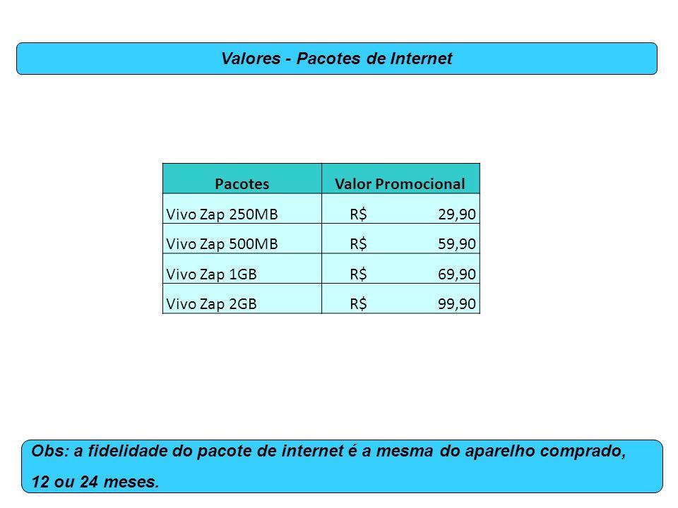 PacotesValor Promocional Vivo Zap 250MB R$ 29,90 Vivo Zap 500MB R$ 59,90 Vivo Zap 1GB R$ 69,90 Vivo Zap 2GB R$ 99,90 Valores - Pacotes de Internet Obs: a fidelidade do pacote de internet é a mesma do aparelho comprado, 12 ou 24 meses.