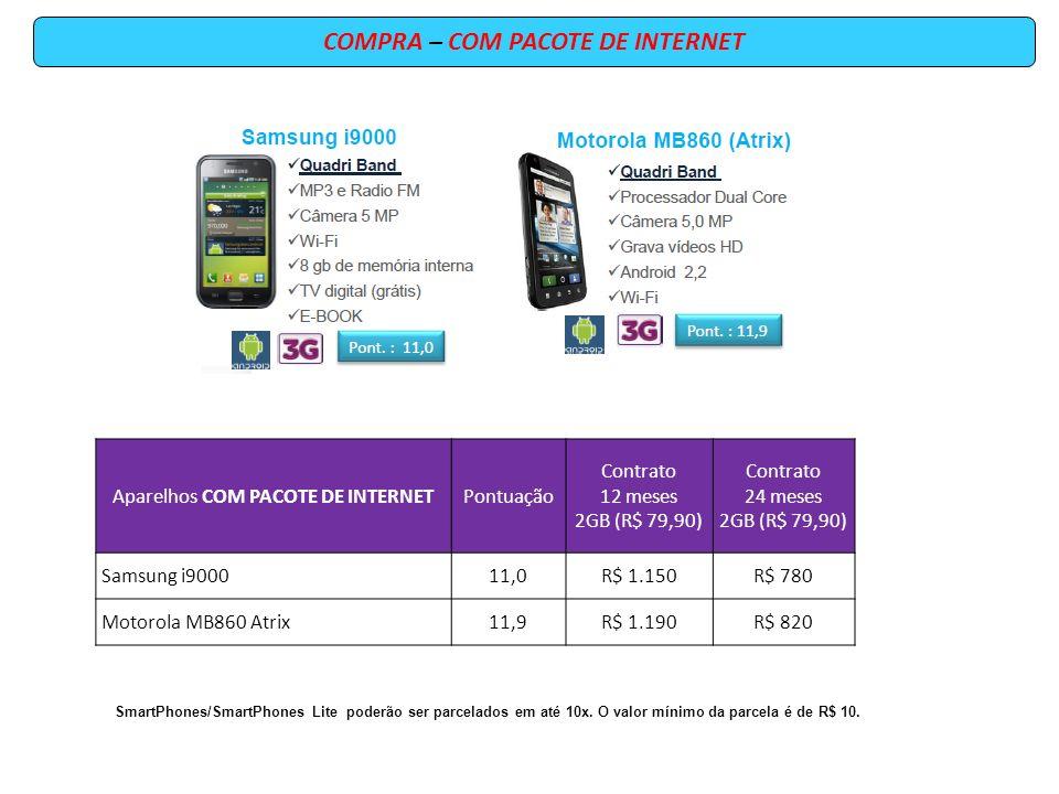 COMPRA – COM PACOTE DE INTERNET Aparelhos COM PACOTE DE INTERNETPontuação Contrato 12 meses 2GB (R$ 79,90) Contrato 24 meses 2GB (R$ 79,90) Samsung i900011,0R$ 1.150R$ 780 Motorola MB860 Atrix11,9R$ 1.190R$ 820 SmartPhones/SmartPhones Lite poderão ser parcelados em até 10x.