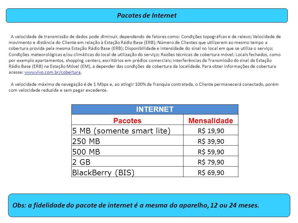 Pacotes de Internet Obs: a fidelidade do pacote de internet é a mesma do aparelho, 12 ou 24 meses.
