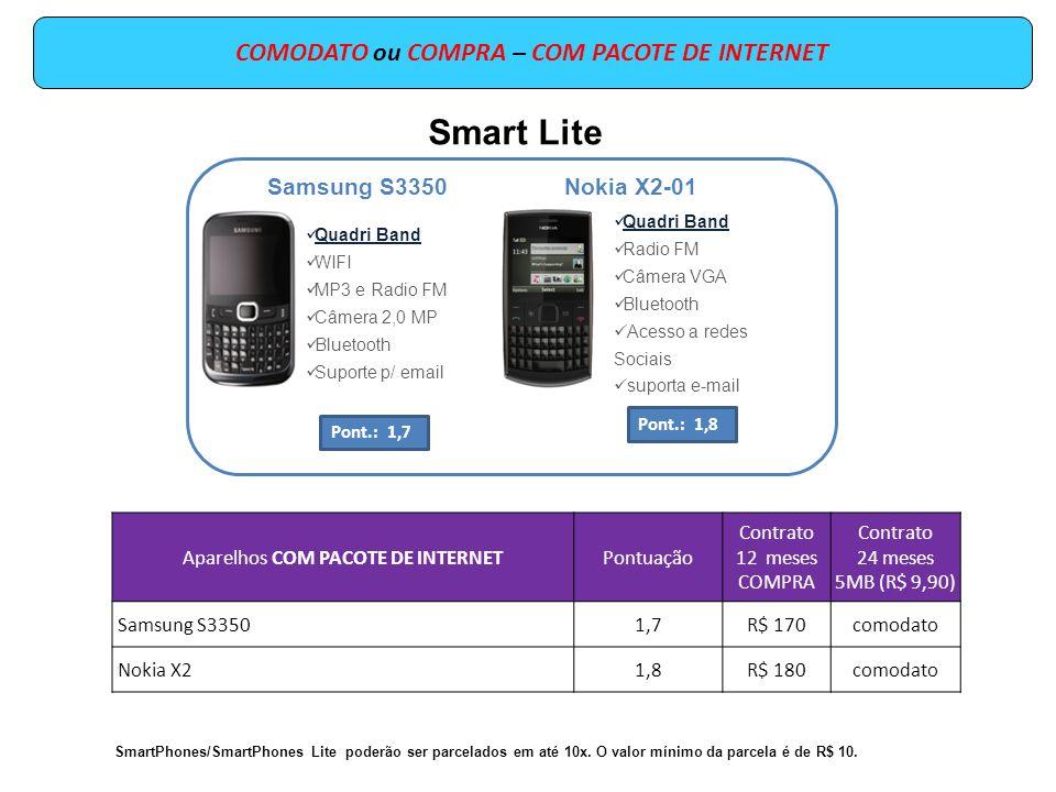 COMODATO ou COMPRA – COM PACOTE DE INTERNET Aparelhos COM PACOTE DE INTERNETPontuação Contrato 12 meses COMPRA Contrato 24 meses 5MB (R$ 9,90) Samsung S33501,7R$ 170comodato Nokia X21,8R$ 180comodato SmartPhones/SmartPhones Lite poderão ser parcelados em até 10x.