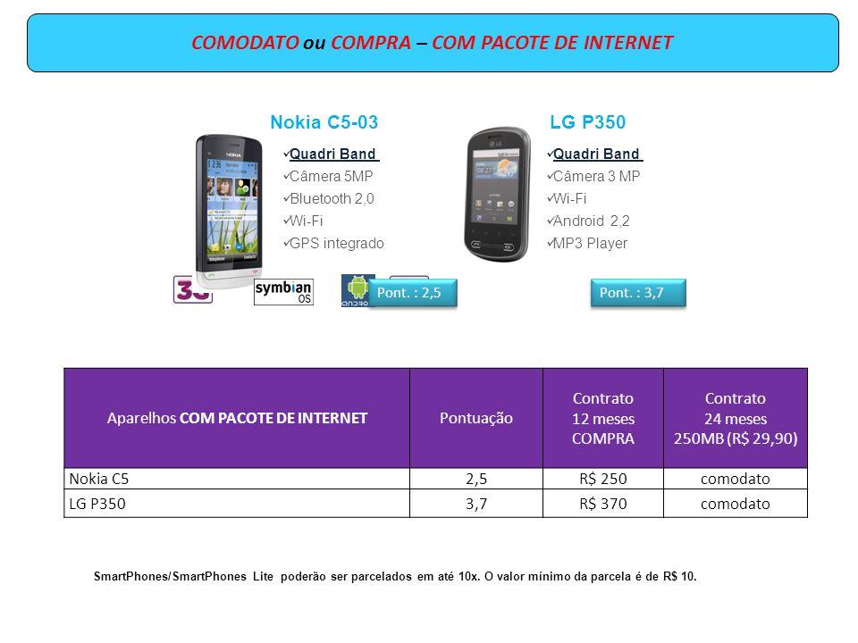 COMODATO ou COMPRA – COM PACOTE DE INTERNET Aparelhos COM PACOTE DE INTERNETPontuação Contrato 12 meses COMPRA Contrato 24 meses 250MB (R$ 29,90) Nokia C52,5R$ 250comodato LG P3503,7R$ 370comodato SmartPhones/SmartPhones Lite poderão ser parcelados em até 10x.