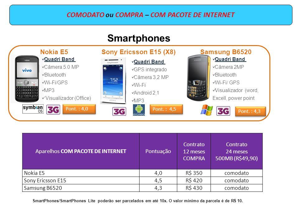 COMODATO ou COMPRA – COM PACOTE DE INTERNET Aparelhos COM PACOTE DE INTERNETPontuação Contrato 12 meses COMPRA Contrato 24 meses 2GB (R$ 79,90) Nokia C75,5R$ 550comodato SmartPhones/SmartPhones Lite poderão ser parcelados em até 10x.