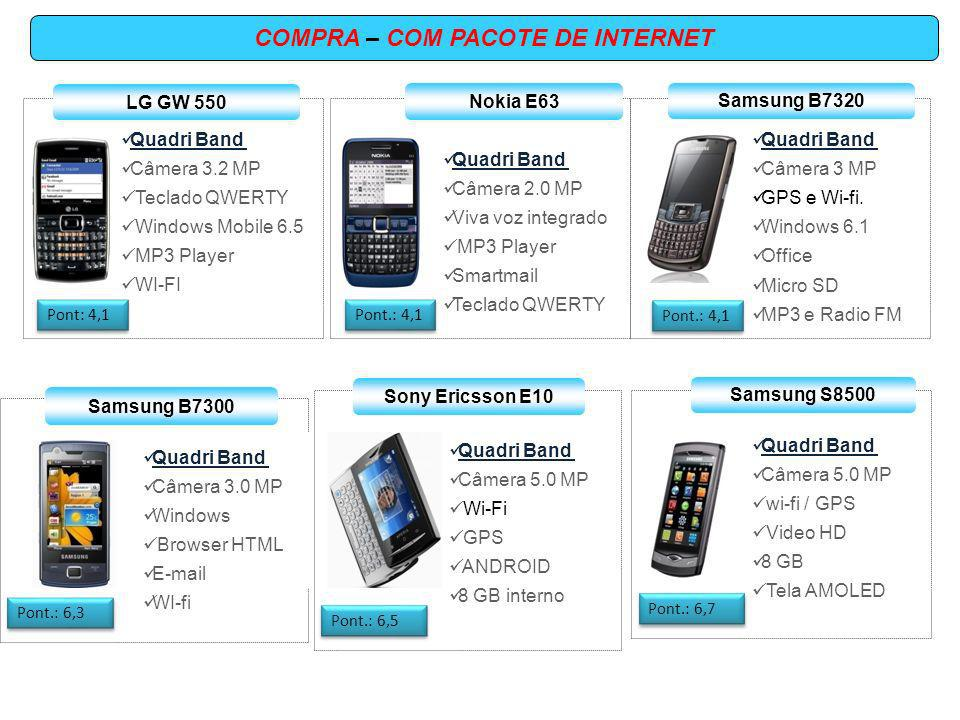 COMPRA – COM PACOTE DE INTERNET Quadri Band Câmera 5.0 MP wi-fi GPS RIM Blacberry 8520 Pont.: 7,5 Quadri Band Câmera 3,2 MP Symbian OS GPS / WI-Fi Email Video Chamada Nokia E71 Pont.: 7,5 Quadri Band Câmera 5.0 MP wi-fi GPS Windows Mobile 8 GB Tela AMOLED Samsung I8000 Pont.: 8,5 Motorola A853 Quadri Band Câmera 5 MP ANDROID Browser HTML E-mail Video chamada Pont.: 8,9 Pont.: 12,5 Quadri Band Câmera 5.0 MP Mail for Exchange Wi-Fi / GPS 8 GB interno E-mail Nokia N97 Mini Blackberry 9700 Quadri Band Câmera 3.2 MP wi-fi GPS RIM 8 GB Pont.: 13,8
