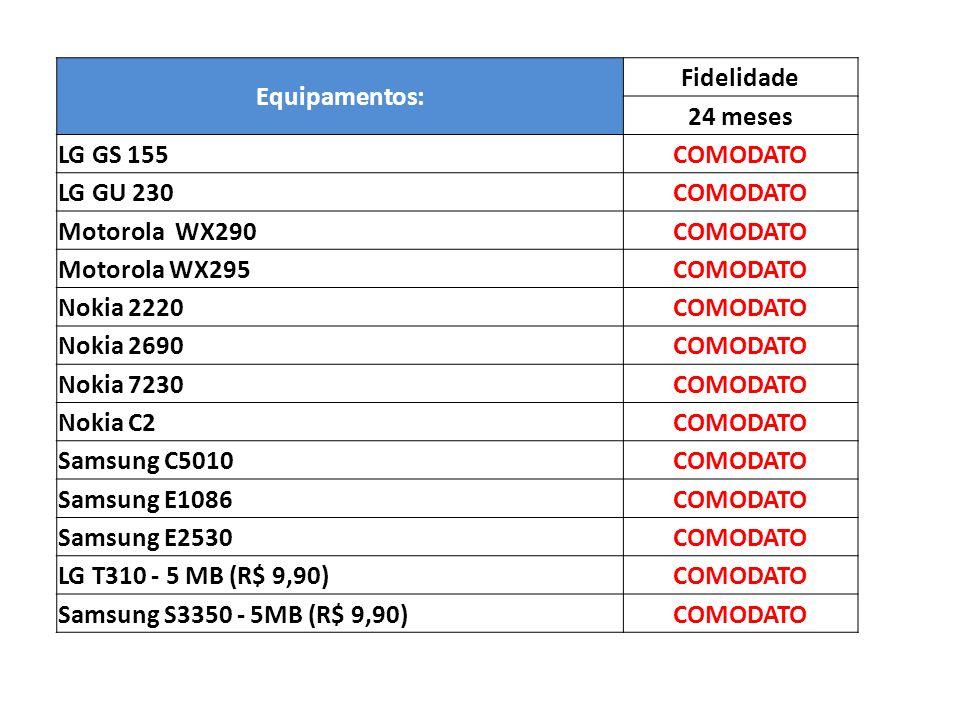 Equipamentos: Fidelidade 24 meses LG GS 155COMODATO LG GU 230COMODATO Motorola WX290COMODATO Motorola WX295COMODATO Nokia 2220COMODATO Nokia 2690COMOD