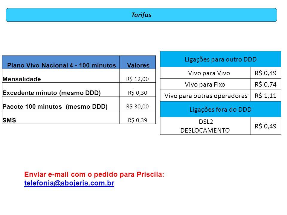 Plano Vivo Nacional 4 - 100 minutos Valores Mensalidade R$ 12,00 Excedente minuto (mesmo DDD) R$ 0,30 Pacote 100 minutos (mesmo DDD) R$ 30,00 SMS R$ 0