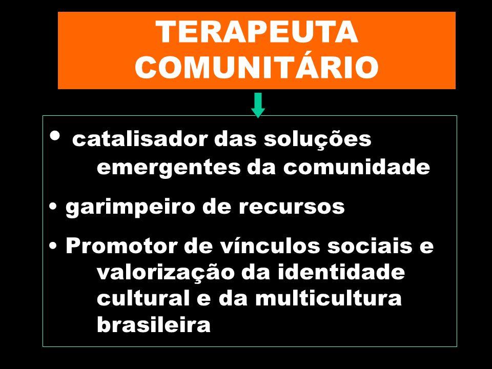 Marilene Grandesso10 TERAPEUTA COMUNITÁRIO catalisador das soluções emergentes da comunidade garimpeiro de recursos Promotor de vínculos sociais e val