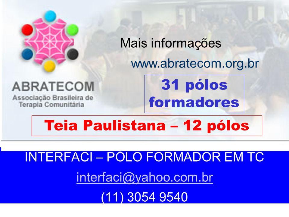 INTERFACI – PÓLO FORMADOR EM TC interfaci@yahoo.com.br (11) 3054 9540 interfaci@yahoo.com.br Mais informações www.abratecom.org.br 31 pólos formadores