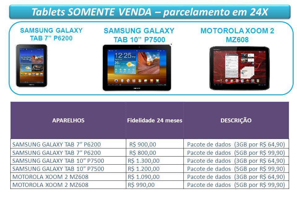 Tablets SOMENTE VENDA – parcelamento em 24X APARELHOSFidelidade 24 mesesDESCRIÇÃO SAMSUNG GALAXY TAB 7 P6200 R$ 900,00Pacote de dados (3GB por R$ 64,9