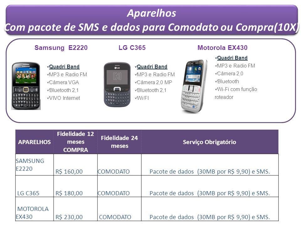 Aparelhos Com pacote de SMS e dados para Comodato ou Compra(10X) Aparelhos Com pacote de SMS e dados para Comodato ou Compra(10X) APARELHOS Fidelidade