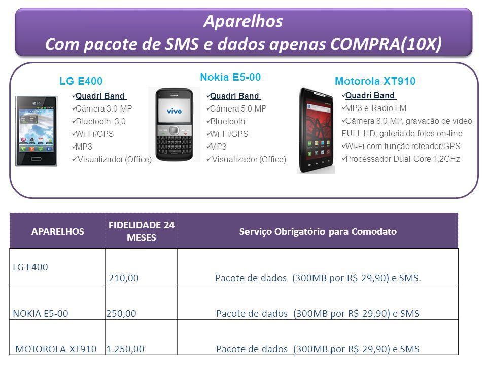 Aparelhos Com pacote de SMS e dados apenas COMPRA(10X) Aparelhos Com pacote de SMS e dados apenas COMPRA(10X) APARELHOS FIDELIDADE 24 MESES Serviço Ob