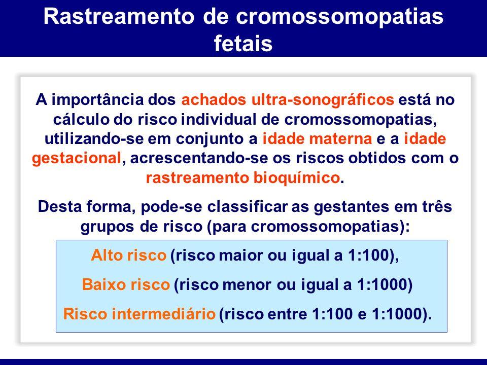 Rastreamento de cromossomopatias fetais A importância dos achados ultra-sonográficos está no cálculo do risco individual de cromossomopatias, utilizan