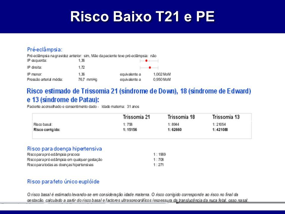 Risco Baixo T21 e PE