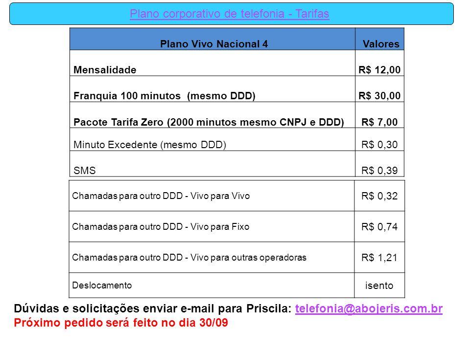 Plano Vivo Nacional 4 Valores MensalidadeR$ 12,00 Franquia 100 minutos (mesmo DDD)R$ 30,00 Pacote Tarifa Zero (2000 minutos mesmo CNPJ e DDD)R$ 7,00 M