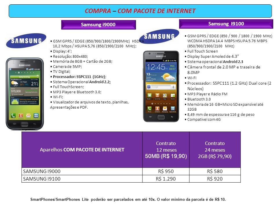 COMPRA – COM PACOTE DE INTERNET GSM GPRS / EDGE (850 / 900 / 1800 / 1900 MHz) WCDMA HSDPA 14.4 MBPS HSUPA 5.76 MBPS (850/900/1900/2100 MHz) Full Touch