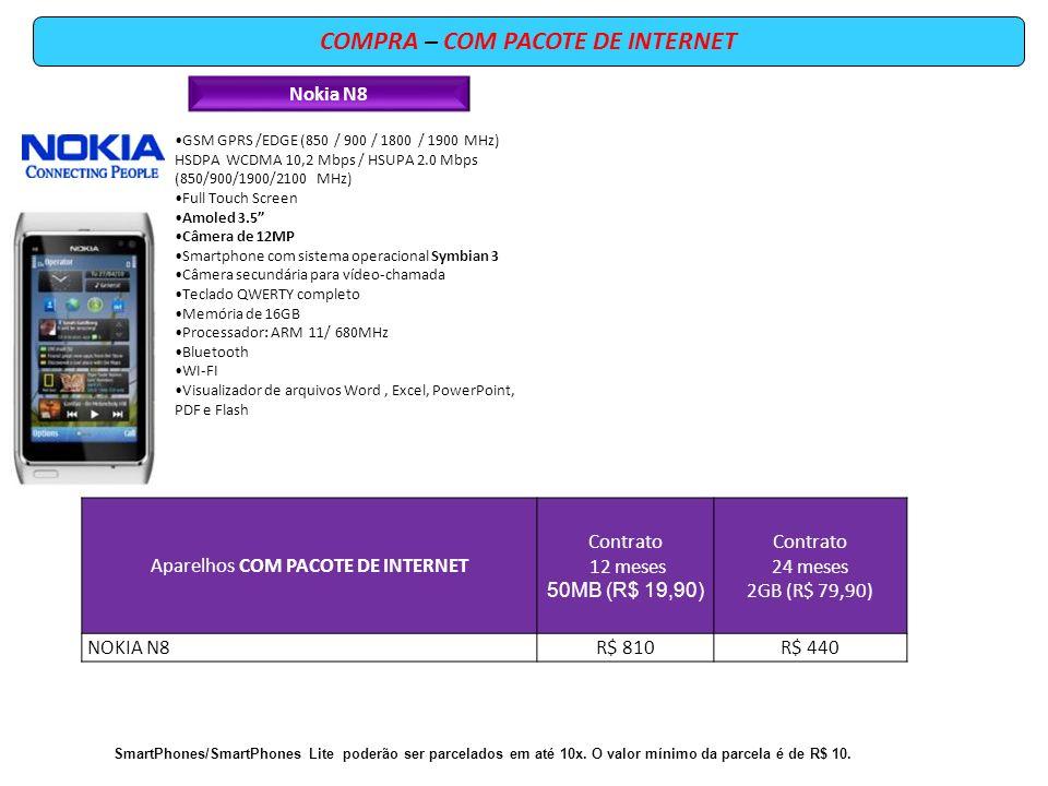COMPRA – COM PACOTE DE INTERNET Nokia N8 GSM GPRS /EDGE (850 / 900 / 1800 / 1900 MHz) HSDPA WCDMA 10,2 Mbps / HSUPA 2.0 Mbps (850/900/1900/2100 MHz) F