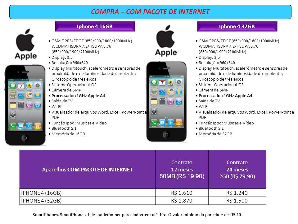 COMPRA – COM PACOTE DE INTERNET Iphone 4 16GBIphone 4 32GB GSM GPRS/EDGE (850/900/1800/1900MHz) WCDMA HSDPA 7,2/HSUPA 5,76 (850/900/1900/2100MHz) Disp