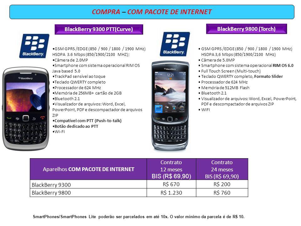 COMPRA – COM PACOTE DE INTERNET BlackBerry 9800 (Torch) GSM GPRS /EDGE (850 / 900 / 1800 / 1900 MHz) HSDPA 3,6 Mbps (850/1900/2100 MHz) Câmera de 5.0M