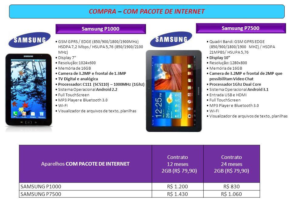 Samsung P1000 GSM GPRS / EDGE (850/900/1800/1900MHz) HSDPA 7,2 Mbps / HSUPA 5,76 (850/1900/2100 MHz) Display 7 Resolução: 1024x600 Memória de 16GB Cam