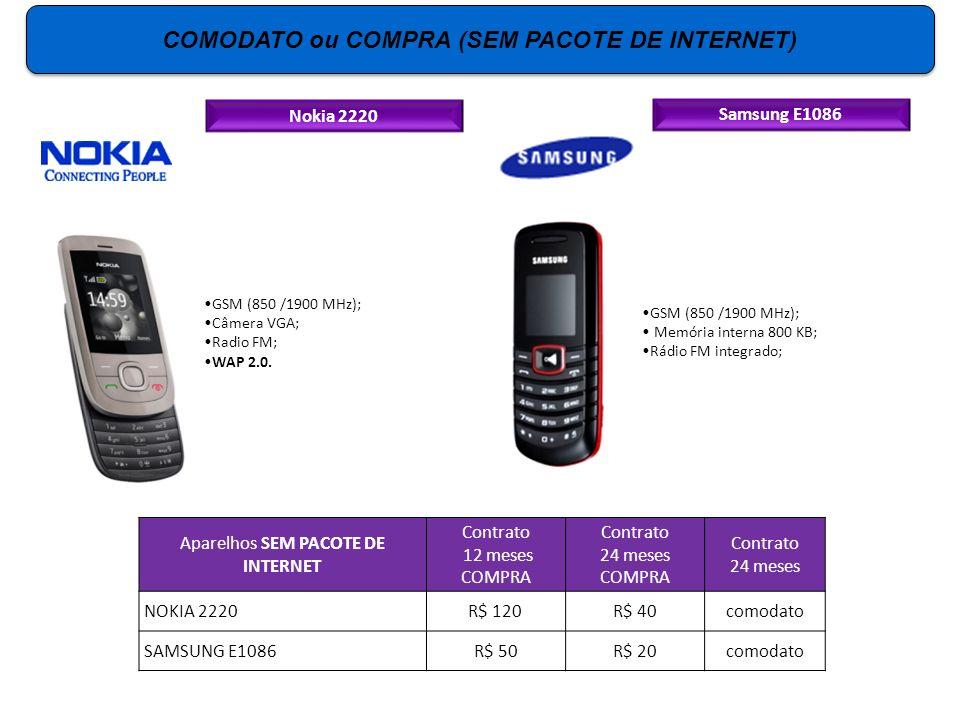 Nokia 2220 GSM (850 /1900 MHz); Câmera VGA; Radio FM; WAP 2.0. Samsung E1086 GSM (850 /1900 MHz); Memória interna 800 KB; Rádio FM integrado; Aparelho