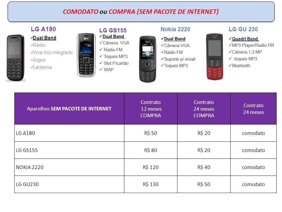 COMODATO (COM PACOTE DE INTERNET) ou COMPRA (SEM PACOTE DE INTERNET) Aparelhos Contrato 12 meses COMPRA Contrato 24 meses COMPRA Contrato 24 meses 5MB (R$ 9,90) NOKIA C2R$ 180R$ 100comodato NOKIA 7230R$ 280R$ 200comodato SAMSUNG E3210R$ 120R$ 40comodato Nokia 7230 Quadriband Câmera 3,2 MP Bluetooth Suporte p/ email MP3 Player Vivo Direto