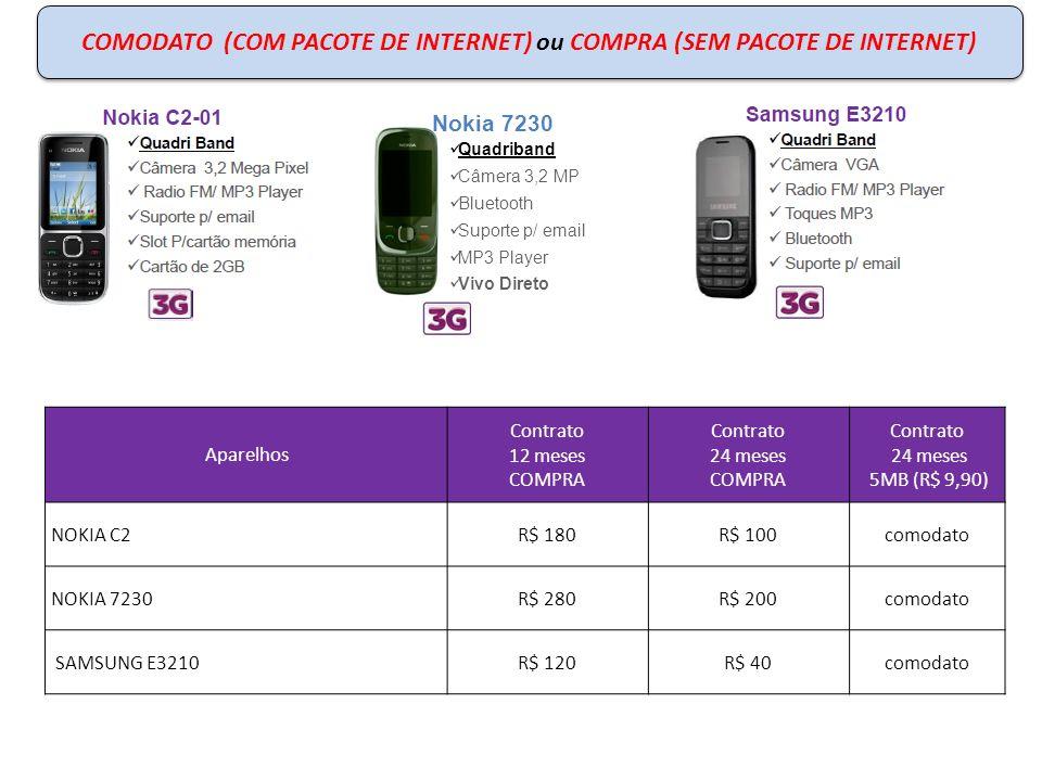 COMODATO ou COMPRA – COM PACOTE DE INTERNET Aparelhos COM PACOTE DE INTERNET Contrato 12 meses COMPRA 5MB (R$ 9,90) Contrato 24 meses COMPRA 5MB (R$ 9,90) Contrato 24 meses 5MB (R$ 9,90) Samsung S3350R$ 170R$ 80comodato LG T500R$ 190R$ 29comodato Nokia C3R$ 220R$ 32comodato LG C300R$ 180R$ 90comodato SmartPhones/SmartPhones Lite poderão ser parcelados em até 10x.