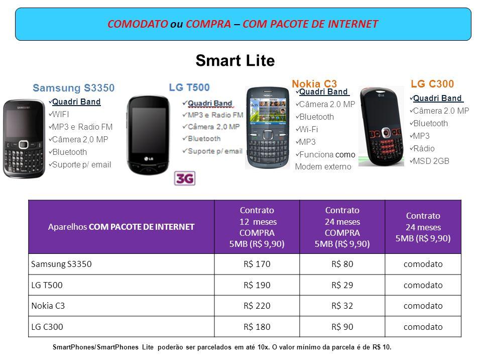 COMODATO ou COMPRA – COM PACOTE DE INTERNET Aparelhos COM PACOTE DE INTERNET Contrato 12 meses COMPRA 50MB (R$ 19,90) Contrato 24 meses COMPRA 250MB (R$ 29,90) Contrato 24 meses 250MB (R$ 29,90) Nokia C5R$ 340R$ 44comodato LG P350R$ 320R$ 50comodato Nokia E5R$ 390R$ 49comodato Samsung B6520R$ 330R$ 43comodato SmartPhones/SmartPhones Lite poderão ser parcelados em até 10x.