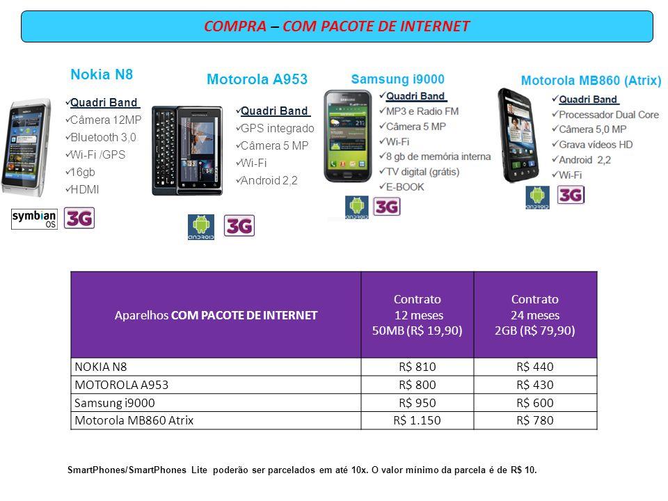COMPRA – COM PACOTE DE INTERNET Aparelhos COM PACOTE DE INTERNET Contrato 12 meses 50MB (R$ 19,90) Contrato 24 meses 2GB (R$ 79,90) NOKIA N8R$ 810R$ 4