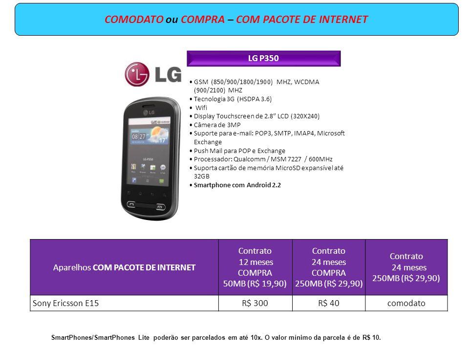 GSM (850/900/1800/1900) MHZ, WCDMA (900/2100) MHZ Tecnologia 3G (HSDPA 3.6) Wifi Display Touchscreen de 2.8 LCD (320X240) Câmera de 3MP Suporte para e