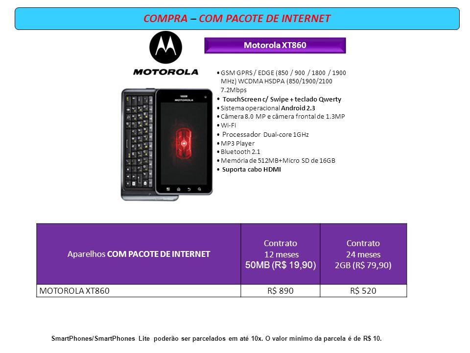 COMPRA – COM PACOTE DE INTERNET Motorola XT860 GSM GPRS / EDGE (850 / 900 / 1800 / 1900 MHz) WCDMA HSDPA (850/1900/2100 7.2Mbps TouchScreen c/ Swipe +
