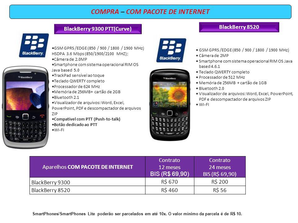 COMPRA – COM PACOTE DE INTERNET BlackBerry 9300 PTT(Curve) GSM GPRS /EDGE (850 / 900 / 1800 / 1900 MHz) HSDPA 3.6 Mbps (850/1900/2100 MHZ); Câmera de