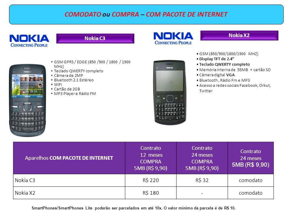 Nokia C3 GSM GPRS / EDGE (850 /900 / 1800 / 1900 MHz) Teclado QWERTY completo Câmera de 2MP Bluetooth 2.1 Estéreo WiFi Cartão de 2GB MP3 Player e Rádi