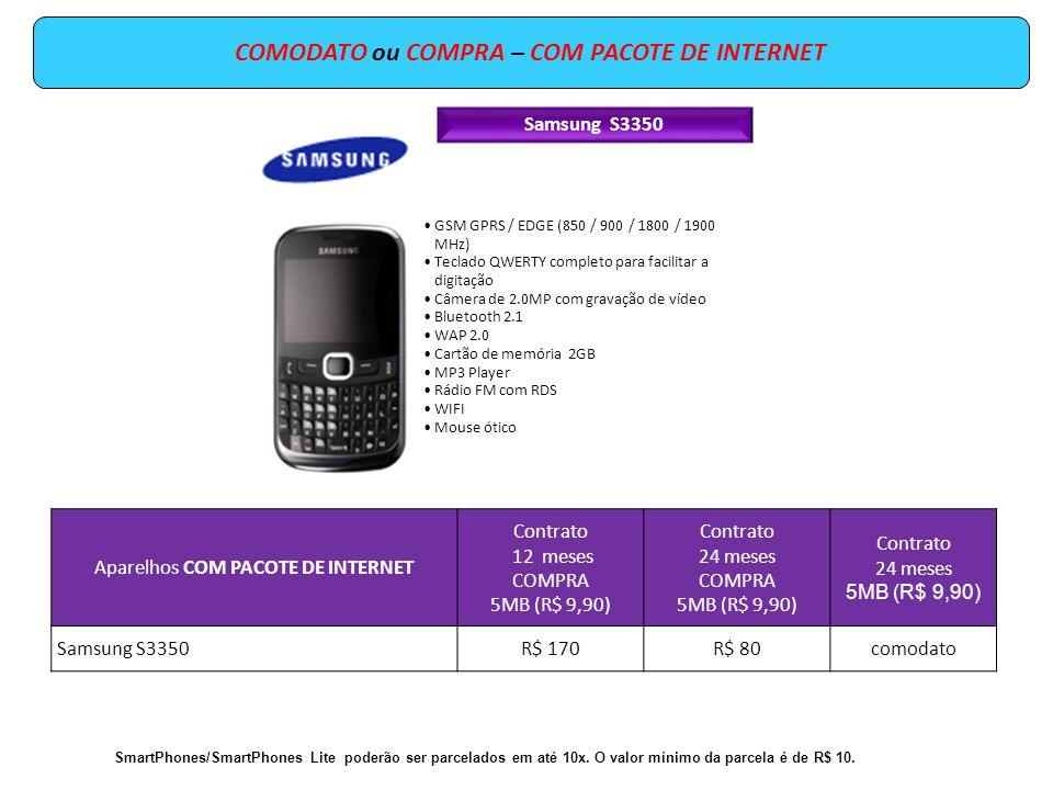 Samsung S3350 GSM GPRS / EDGE (850 / 900 / 1800 / 1900 MHz) Teclado QWERTY completo para facilitar a digitação Câmera de 2.0MP com gravação de vídeo B