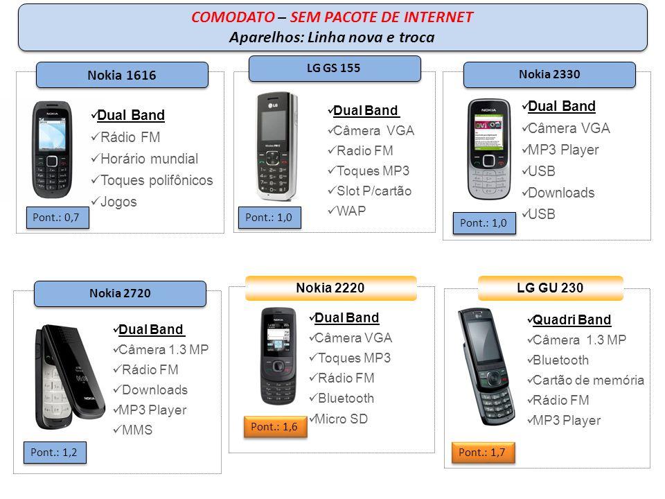 Quadri Band Câmera VGA Bluetooth MP3 Player Radio FM Samsung C3050 Pont.: 2,5 Quadri Band Câmera 2.0 Bluetooth MP3 Player MSD 1 GB Radio FM LG GB 280 Pont.: 2,3 Samsung S5230 Pont.: 4,9 Quadri Band Câmera VGA Bluetooth MP3 Player Downloads Email Nokia 2690 Pont.: 2.5 Nokia X3 Quadri Band Câmera 3,2 Toques MP3 Rádio FM Bluetooth Micro SD Pont.:3.2 COMODATO – SEM PACOTE DE INTERNET Aparelhos: troca COMODATO – SEM PACOTE DE INTERNET Aparelhos: troca
