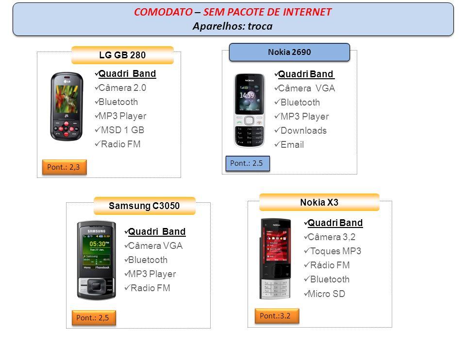 COMPRA – COM PACOTE DE INTERNET Quadri Band Câmera 3.2 MP Teclado QWERTY Windows Mobile 6.5 MP3 Player WI-FI LG GW 550 Pont: 4,1 Quadri Band Câmera 2.0 MP Viva voz integrado MP3 Player Smartmail Teclado QWERTY Nokia E63 Pont.: 4,1 Samsung B7320 Quadri Band Câmera 3 MP GPS e Wi-fi.