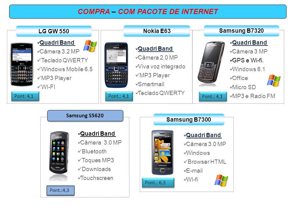 Quadri Band Câmera 5.0 MP wi-fi / GPS Video HD 8 GB Tela AMOLED Samsung S8500 Pont.: 6,7 COMPRA – COM PACOTE DE INTERNET Samsung S8000 Quadri Band Câmera 5 MP GPS Cartão MSD Exchange Wi-fi Pont : 7,1 Quadri Band Câmera 5.0 MP wi-fi GPS RIM Blacberry 8520 Pont.: 7,5 Quadri Band Câmera 3,2 MP Symbian OS GPS / WI-Fi Email Video Chamada Nokia E71 Pont.: 7,5 Quadri Band Câmera 5.0 MP wi-fi GPS Windows Mobile 8 GB Tela AMOLED Samsung I8000 Pont.: 8,5 Nokia X6 Pont.: 8.6 Quadri Band Câmera 5.0 MP Flash LED duplo Nokia Mapas 3.0 GPS ANDROID 16 GB interno