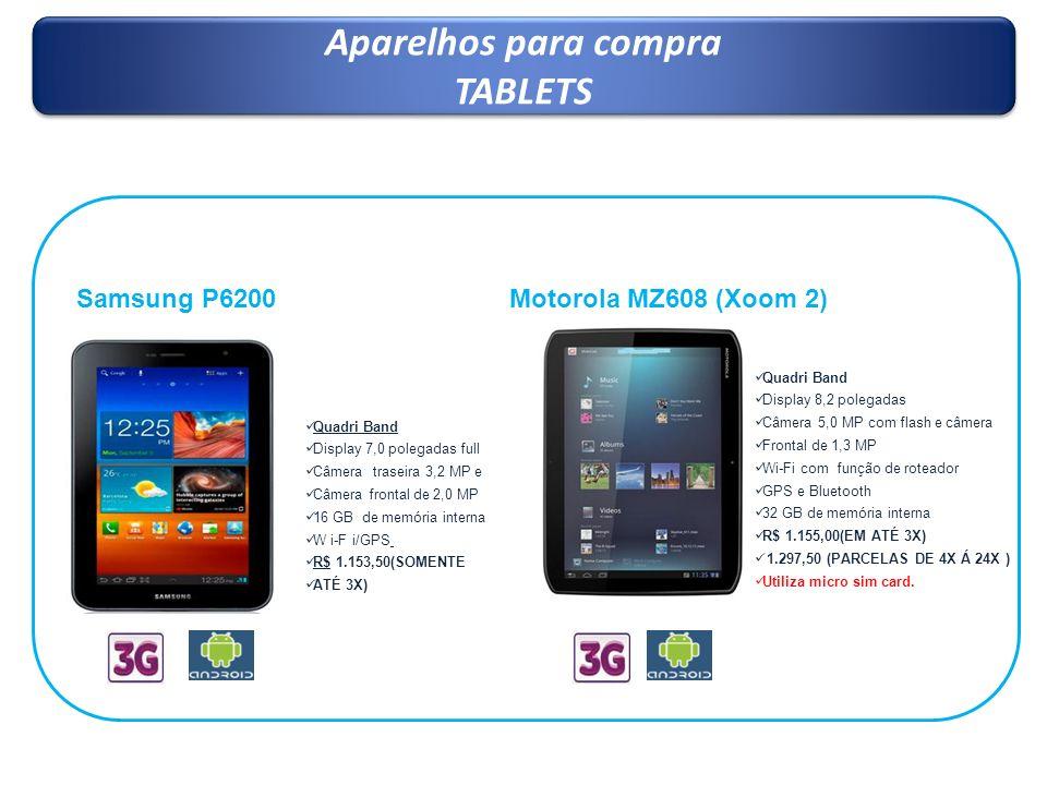 Aparelhos para compra TABLETS Aparelhos para compra TABLETS Samsung P6200 Quadri Band Display 7,0 polegadas full Câmera traseira 3,2 MP e Câmera front